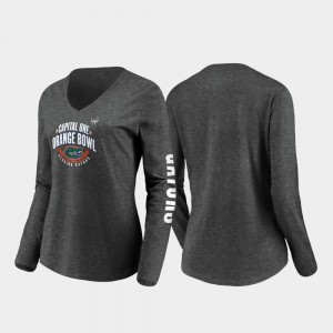 Florida Gators T-Shirt Women's Stiff Arm Long Sleeve V-Neck 2019 Orange Bowl Bound Heather Charcoal