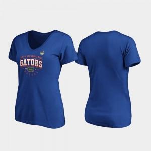 Florida Gators T-Shirt Tackle V-Neck For Women 2019 Orange Bowl Bound Royal