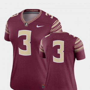 Florida State Seminoles Jersey #3 College Football Garnet Ladies Legend