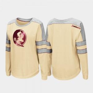 Florida State Seminoles T-Shirt Trey Dolman For Women's Gold Long Sleeve