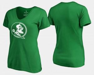 Florida State Seminoles T-Shirt White Logo St. Patrick's Day Kelly Green Womens