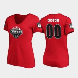 Georgia Bulldogs Custom T-Shirt #00 2019 SEC East Football Division Champions V-Neck Red For Women's