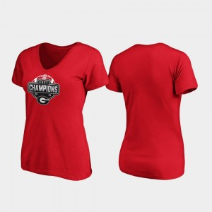 Georgia Bulldogs T-Shirt V-Neck Red Ladies 2019 SEC East Football Division Champions
