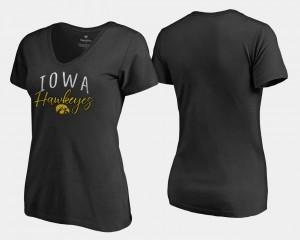 Iowa Hawkeyes T-Shirt For Women Black V-Neck Graceful