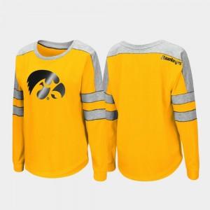 Iowa Hawkeyes T-Shirt Gold Ladies Long Sleeve Trey Dolman