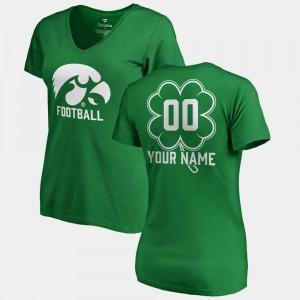 Iowa Hawkeyes Custom T-Shirt Kelly Green #00 Ladies V-Neck Dubliner Fanatics St. Patrick's Day
