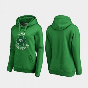 Iowa Hawkeyes Hoodie Kelly Green St. Patrick's Day Luck Tradition Women's