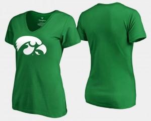 Iowa Hawkeyes T-Shirt White Logo Women's Kelly Green St. Patrick's Day