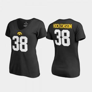 Iowa Hawkeyes T.J. Hockenson T-Shirt #38 Black V-Neck Name & Number College Legends For Women