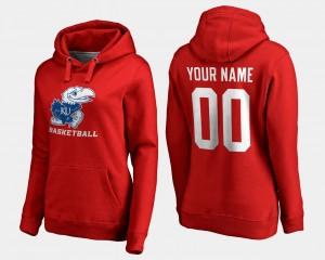 Kansas Jayhawks Custom Hoodie Women Basketball - Red #00