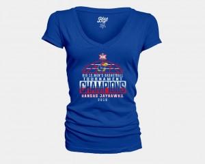 Kansas Jayhawks T-Shirt Royal Ladies V-Neck 2018 Big 12 Champions Locker Room Basketball Conference Tournament