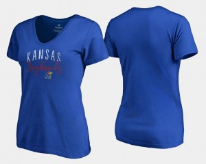 Kansas Jayhawks T-Shirt Womens V-Neck Graceful Royal