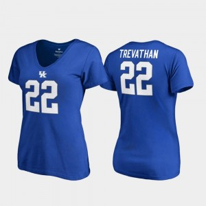 Kentucky Wildcats Danny Trevathan T-Shirt #22 Royal College Legends V-Neck For Women's