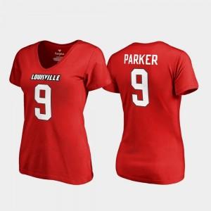 Louisville Cardinals DeVante Parker T-Shirt #9 Red V-Neck College Legends Women's