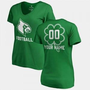 Louisville Cardinals Customized T-Shirts St. Patrick's Day Ladies Kelly Green #00 V-Neck Dubliner Fanatics