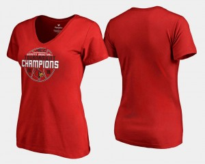 Louisville Cardinals T-Shirt V-Neck 2018 ACC Champions Red Women Basketball Conference Tournament
