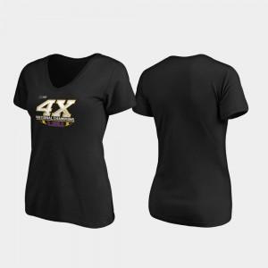 LSU Tigers T-Shirt 4-Time Football National Champions Reverse V-Neck Black Womens