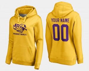 LSU Tigers Custom Hoodie Gold #00 Women's Basketball -