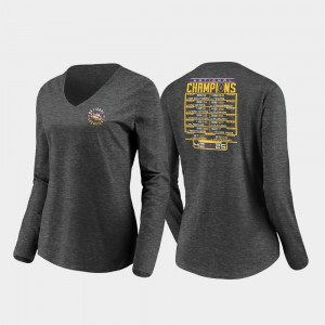 LSU Tigers T-Shirt Heather Charcoal Fumble Schedule Long Sleeve V-Neck 2019 National Champions Women's