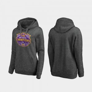 LSU Tigers Hoodie Heather Gray Womens 2019 National Champions College Football Playoff Encroachment