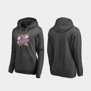 LSU Tigers Hoodie College Football Playoff Facemask Heather Gray For Women 2019 National Champions