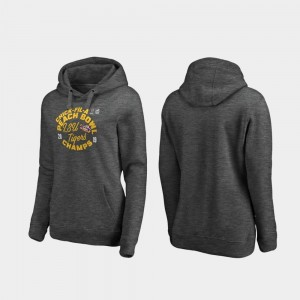 LSU Tigers Hoodie Women's College Football Playoff Curl 2019 Peach Bowl Champions Heather Gray