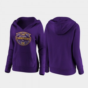 LSU Tigers Hoodie For Women Purple 2019 National Champions College Football Playoff Official Logo