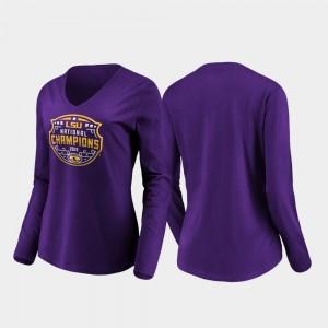 LSU Tigers T-Shirt 2019 National Champions Women's Purple Official Logo Long Sleeve