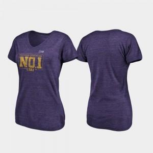 LSU Tigers T-Shirt Pocket Tri-Blend V-Neck Purple 2019 National Champions Ladies