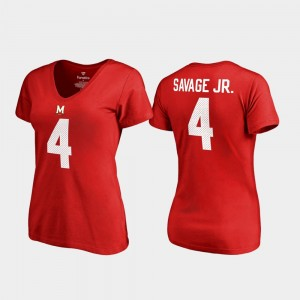 Maryland Terrapins Darnell Savage Jr. T-Shirt College Legends V-Neck Name & Number #4 Red For Women
