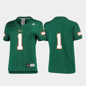 Miami Hurricanes Jersey Ladies Football #1 Green Replica