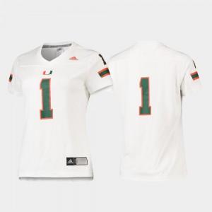 Miami Hurricanes Jersey Replica #1 Women's White Football