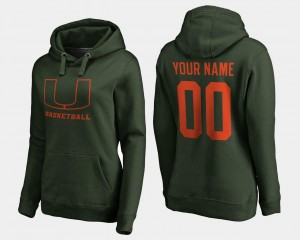Miami Hurricanes Custom Hoodie Green #00 Women Basketball -