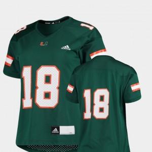 Miami Hurricanes Jersey #18 Replica Women's College Football Green
