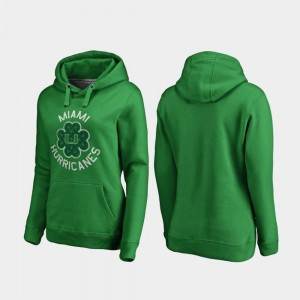 Miami Hurricanes Hoodie Womens Kelly Green Luck Tradition St. Patrick's Day