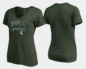Michigan State Spartans T-Shirt Graceful For Women's V-Neck Green