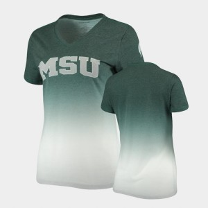 Michigan State Spartans T-Shirt V-Neck Heathered Green Women Ombre