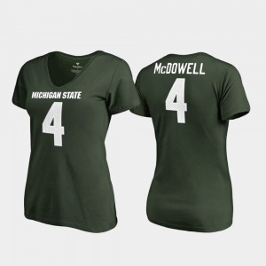Michigan State Spartans Malik McDowell T-Shirt For Women's #4 Green College Legends V-Neck