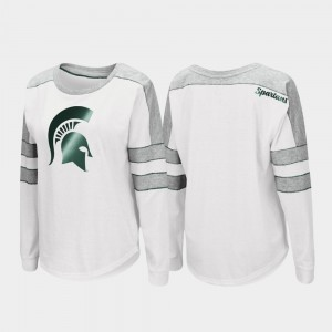 Michigan State Spartans T-Shirt White Long Sleeve For Women's Trey Dolman