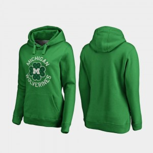 Michigan Wolverines Hoodie Kelly Green For Women St. Patrick's Day Luck Tradition