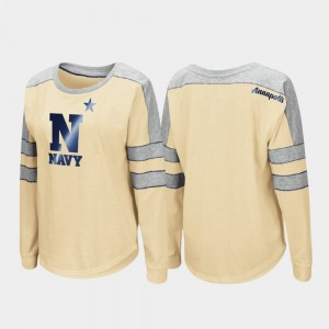 Navy Midshipmen T-Shirt Long Sleeve Women's Trey Dolman Gold