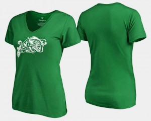 Navy Midshipmen T-Shirt Womens White Logo Kelly Green St. Patrick's Day