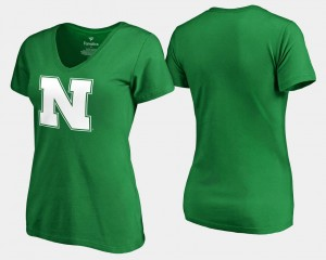 Nebraska Cornhuskers T-Shirt White Logo Kelly Green St. Patrick's Day For Women's