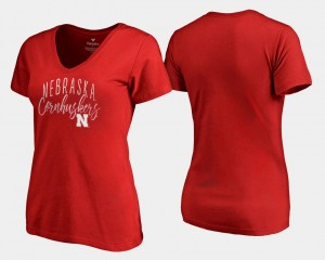 Nebraska Cornhuskers T-Shirt Graceful Scarlet Womens V-Neck