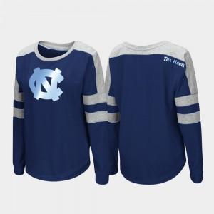 North Carolina Tar Heels T-Shirt Navy Long Sleeve Trey Dolman Ladies