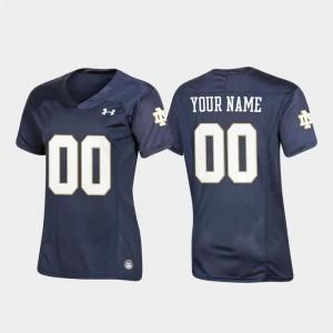 Notre Dame Fighting Irish Customized Jersey Navy Football Replica Women #00