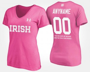 Notre Dame Fighting Irish Custom T-Shirts For Women #00 Pink With Message