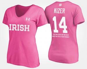 Notre Dame Fighting Irish DeShone Kizer T-Shirt Women's Pink With Message #14