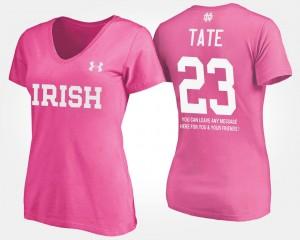 Notre Dame Fighting Irish Golden Tate T-Shirt Women #23 With Message Pink