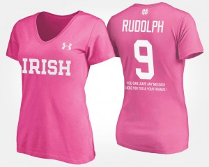 Notre Dame Fighting Irish Kyle Rudolph T-Shirt #9 Pink With Message Womens